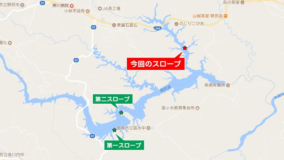 戸崎川に近いスロープの地図