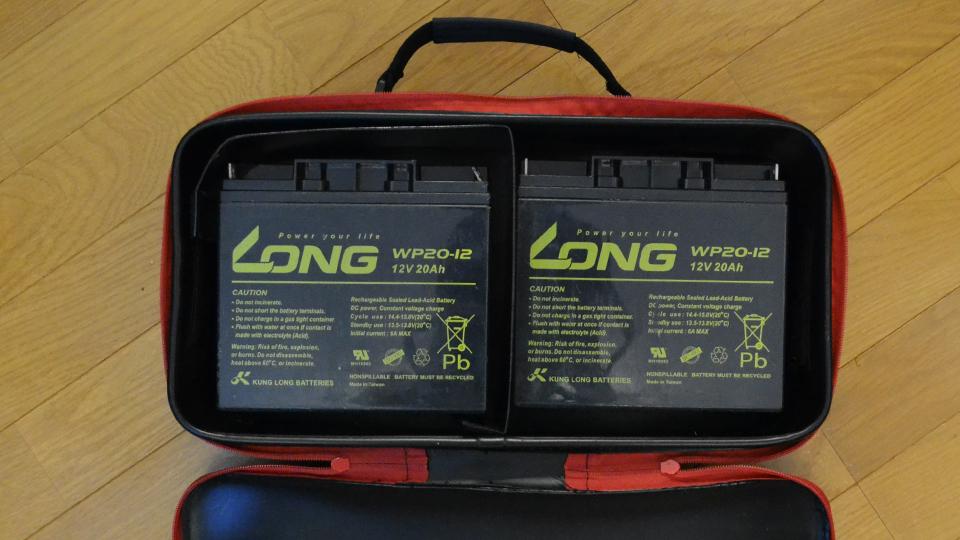 SK11 EVAツールボックスLにLONG製バッテリー『WP20-12』を二個収納(別アングル)