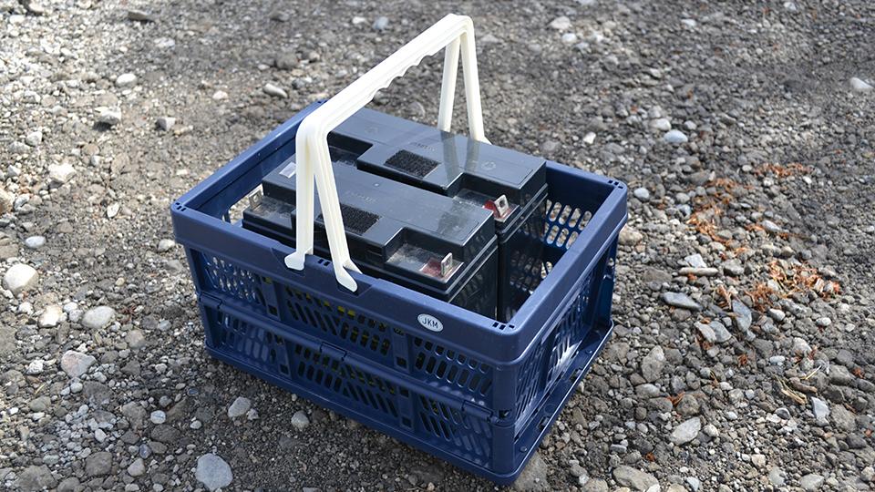 JKM  折りたたみコンテナにバッテリー二個を収納