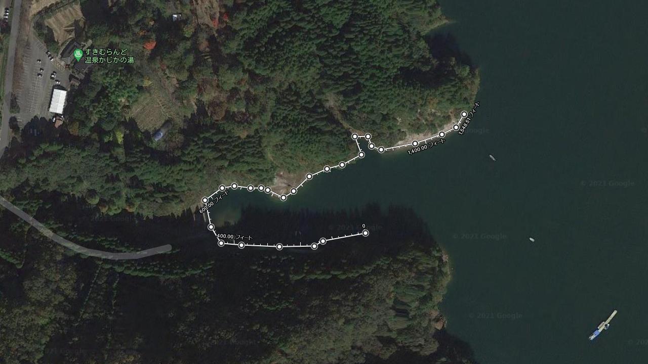 小野湖を上空から見た様子(Googleアース)