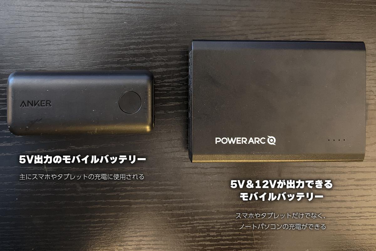 5V出力のモバイルバッテリーと5V&12Vが出力できるモバイルバッテリー