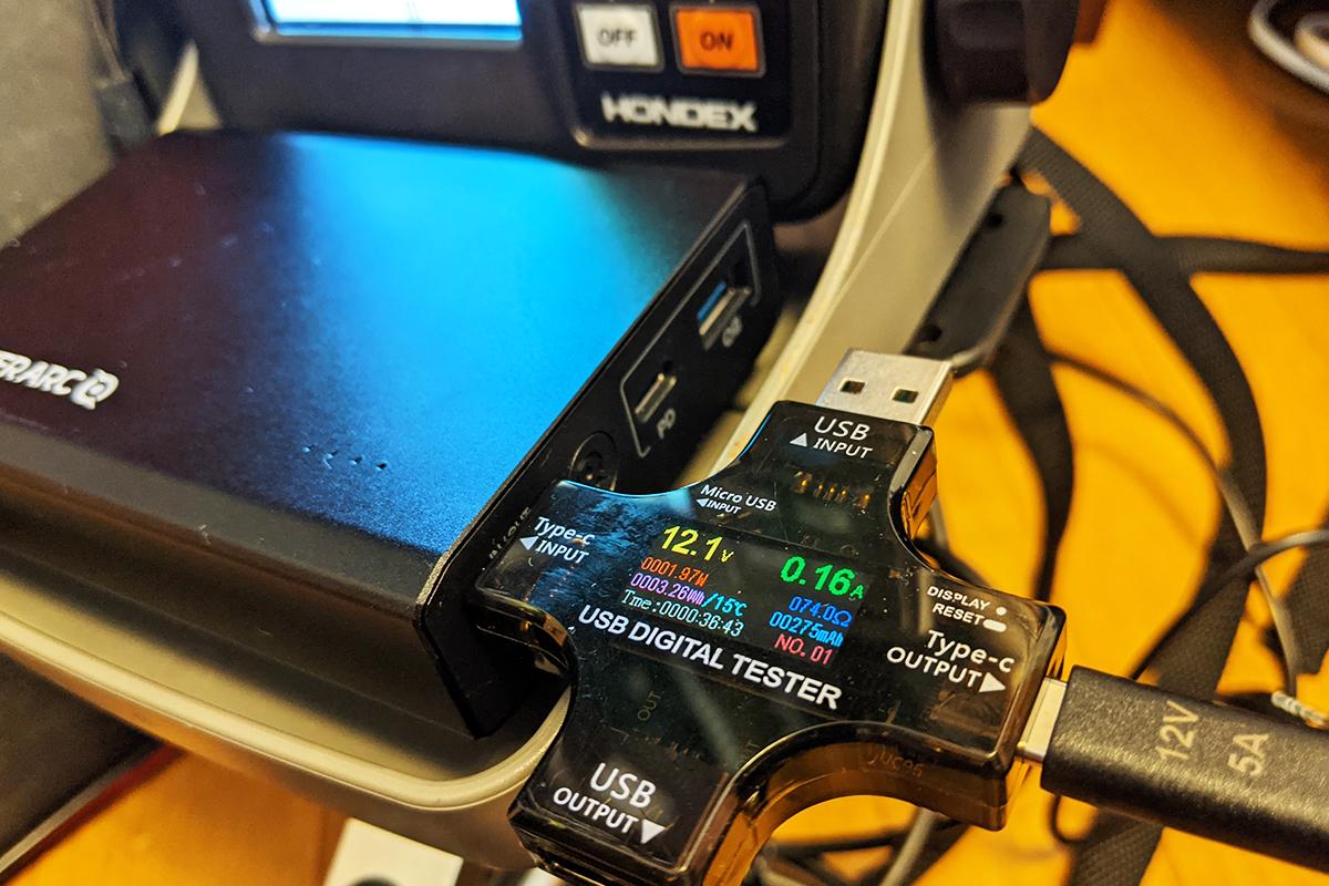 魚探『HONDEX PS-500C』の消費電流は「200mA」程度